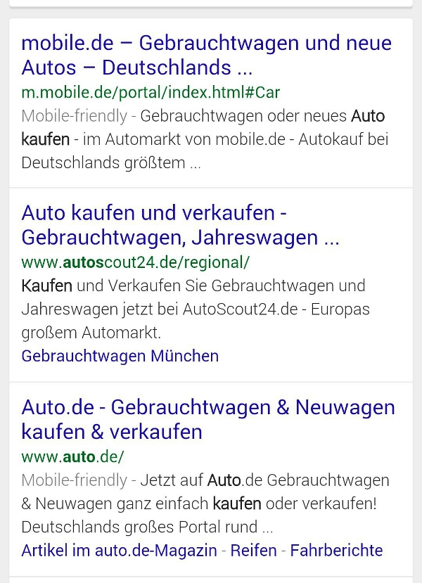 mobile friendly serps